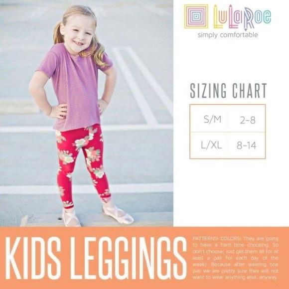LuLaRoe Kids Leggings S//M Small Medium Blue Pink Purple Yellow Design